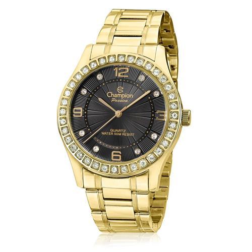 Relógio Feminino Champion Passion Analógico CN29187U Aço Dourado com cristais
