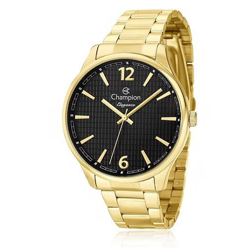 Relógio Feminino Champion Elegance Analógico CN27670U Dourado com fundo preto