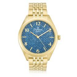 Relógio Feminino Champion Elegance Analógico CN25172A Dourado fundo Jeans