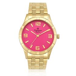 Relógio Feminino Champion Elegance Analógico CN25154L Dourado fundo Rosa