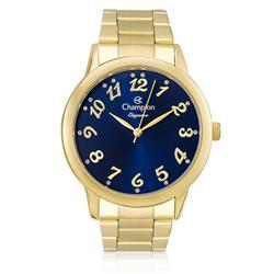 Relógio Feminino Champion Elegance Analógico CN26000A Aço com fundo azul e cristais