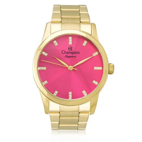 Relógio Feminino Champion Elegance Analógico CN25261L Dourado com fundo rosa