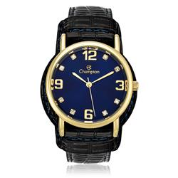 Relógio Feminino Champion Analógico CN20186A Couro Preto com fundo azul