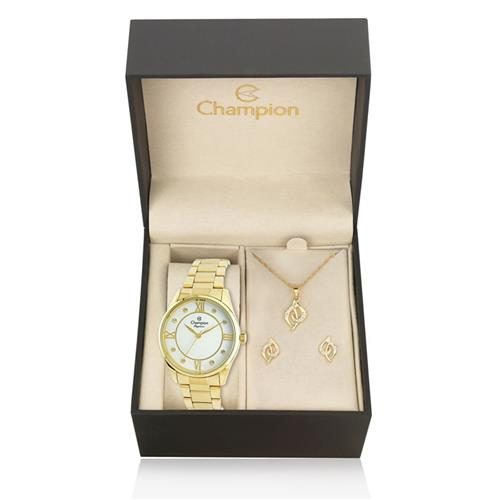Relógio Feminino Champion Elegance Analógico CN25038W Kit com Colar e Par de Brincos