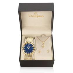Relógio Feminino Champion Crystal Analógico CN27885K Kit com Colar e Par de Brincos