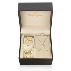 Relógio Feminino Champion Elegance Analógico CN27303W Kit com Colar e Par de Brincos