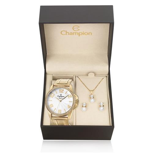 Relógio Feminino Champion Elegance Analógico CN27821W Kit com Colar e Par de Brincos