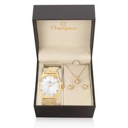 Relógio Feminino Champion Elegance Analógico CN27812W Kit com Colar e Par de Brincos