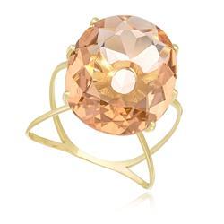 Anel com Cristal de Morganita Oval, em Ouro Amarelo