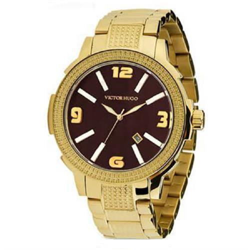 Relógio Victor Hugo Analógico 10086LSG/12M Dourado fundo Chocolate  43055