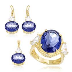 Conjunto Par de Brincos, Anel e Pingente com Cristal de Tanzanita, Diamantes e Zircônias com Corrente, Folheado a Ouro Amarelo