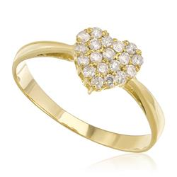Anel Chuveiro Coração com 20 Pts em Diamantes, em Ouro Amarelo