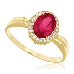 Anel com Rubelita Oval e Diamantes totalizando 15 Pts, em Ouro Amarelo