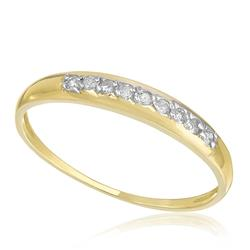 Meia Aliança com 9 Diamantes totalizando 10 Pts, em Ouro Amarelo