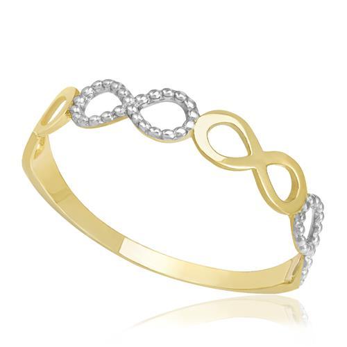 Anel Infinito com efeito diamantado, em Ouro Amarelo