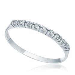 Meia Aliança com 9 Diamantes, em Ouro Branco
