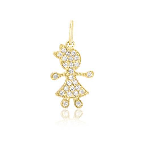 Pingente Menina com 25 Diamantes, em Ouro Amarelo
