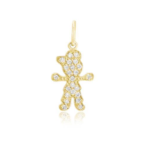 Pingente Menino com 23 Diamantes, em Ouro Amarelo