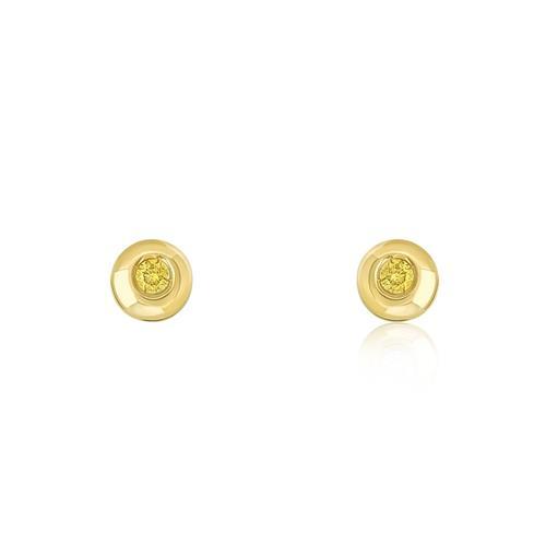 Par de Brincos com Diamantes Amarelos totalizando 10 pts, em Ouro Amarelo