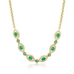 Gargantilha de esmeraldas com diamantes com elos portugueses