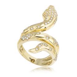 Anel Serpente com Diamantes totalizando 1,10 Cts., em Ouro Amarelo
