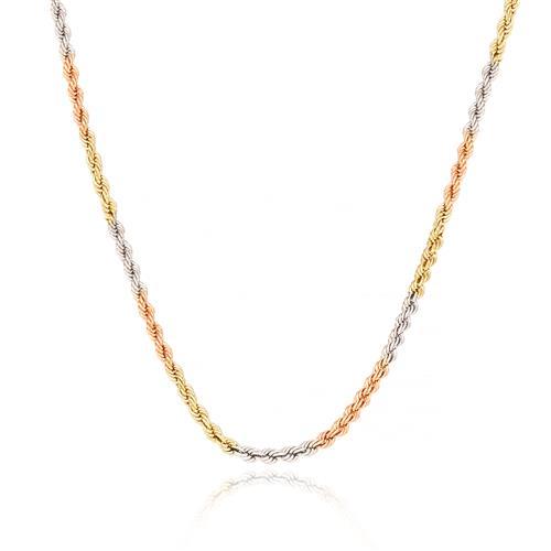 Corrente Feminina Malha Corda com 45 cm, 4,4 gramas em Ouro 3 Cores
