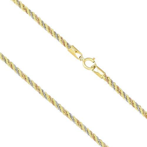Corrente Malha Corda com 45 cm, em Ouro 3 Cores