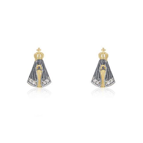 Par de Brincos Nossa Senhora com 8 Diamantes, em Ouro Amarelo