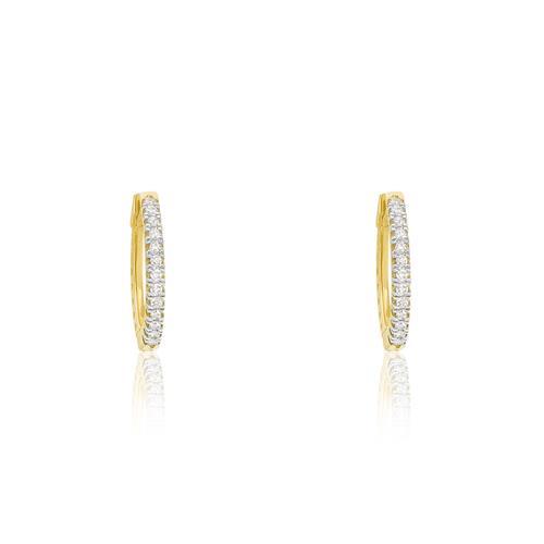 Par de Brincos Argola com 26 Diamantes, em Ouro Amarelo