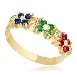 Meia Aliança com Rubis, Esmeraldas, Safiras e Diamantes, em Ouro Amarelo