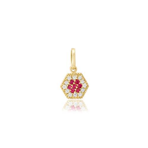 Pingente com Rubis e Diamantes, em Ouro Amarelo