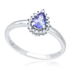 Anel com Diamantes totalizando 10 pts. e Tanzanita de 30 pts., em Ouro Branco