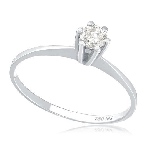 Anel Solitário com Diamante de 20 Pts, em Ouro Branco