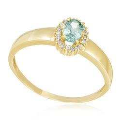 Anel Trabalhado com Diamantes totalizando 10 Pts e Turmalina Paraíba de 35 Pts em Ouro Amarelo