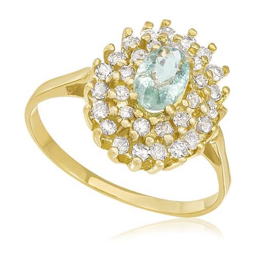 Anel com Turmalina Paraíba de 45 Pts e Diamantes totalizando 50 Pts, em Ouro Amarelo