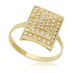 Anel Retangular com 48 Pts em Diamantes, em Ouro Amarelo