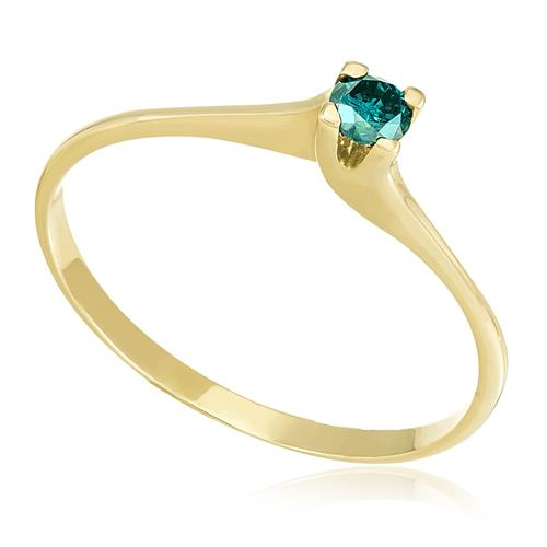 Anel Solitário com Diamante Azul de 11 pts., em Ouro Amarelo
