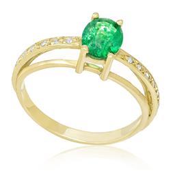 Anel com Esmeralda Oval de 1,2 Cts e 16 Pts em Diamantes, em Ouro Amarelo