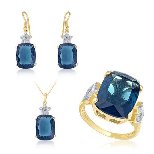 Conjunto Estrela com Pingente, Par de Brincos e Anel com Topázios Azuis e Diamantes, com Corrente Acabamento em Ouro Amarelo  46084