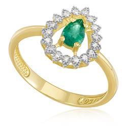Anel com Esmeralda Gota e 17 Diamantes, em Ouro Amarelo