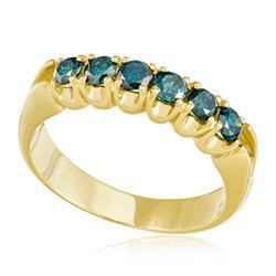 Meia Aliança com 6 Diamantes Azuis totalizando 65 pontos, em Ouro Amarelo