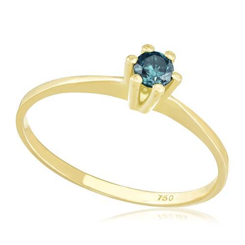 Anel Solitário com 6 Garras com Diamante Azul de 11 Pts, em Ouro Amarelo