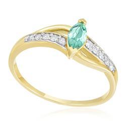 Anel com Diamantes totalizando 15 pts. e Turmalina Paraíba de 40 pts., em Ouro Amarelo