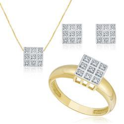 Conjunto Par de brincos, Anel e Pingente com 36 Diamantes e Corrente, folheado a Ouro Amarelo