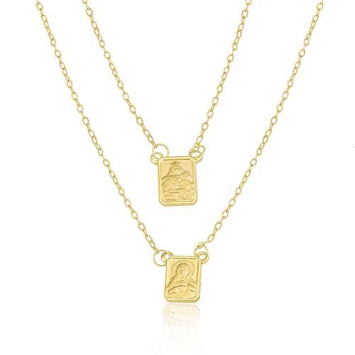 Escapulário com Elos Cartier, em Ouro Amarelo