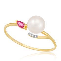 Anel com 3 Diamantes, Pérola de 7 mm e Rubi Navete, em Ouro Amarelo