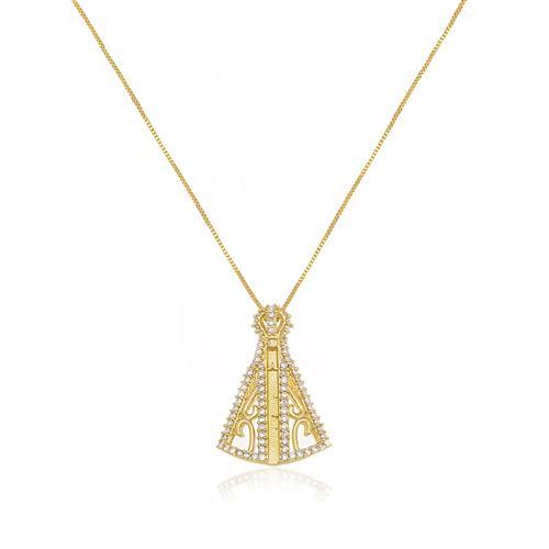 Pingente Nossa Senhora com Diamantes totalizando 24 Pts, em Ouro Amarelo