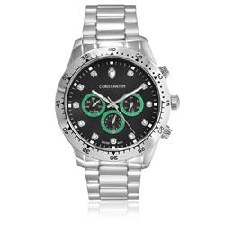 Relógio Masculino Constantim Daytona Silver Green Black Analógico 311G-C-BB Fundo preto com verde