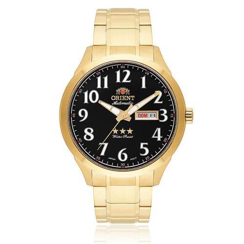 Relógio Masculino Orient Automatic 469GP074 P2KX Dourado fundo preto