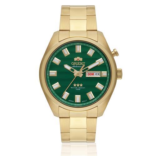 Relógio Masculino Orient Automatic 469GP076 E1KX Dourado fundo verde